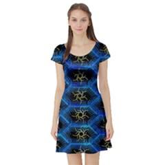 Blue Bee Hive Pattern Short Sleeve Skater Dress