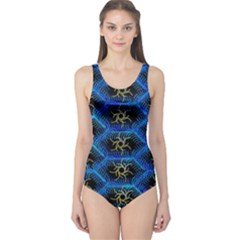 Blue Bee Hive Pattern One Piece Swimsuit
