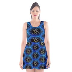 Blue Bee Hive Pattern Scoop Neck Skater Dress