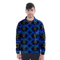 Blue Bee Hive Pattern Wind Breaker (Men)