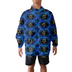 Blue Bee Hive Pattern Wind Breaker (kids)