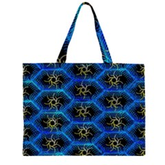 Blue Bee Hive Pattern Zipper Large Tote Bag