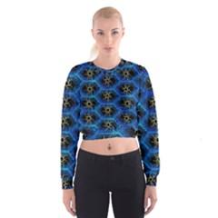 Blue Bee Hive Pattern Women s Cropped Sweatshirt