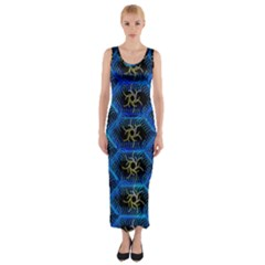 Blue Bee Hive Pattern Fitted Maxi Dress