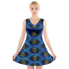 Blue Bee Hive Pattern V Neck Sleeveless Skater Dress
