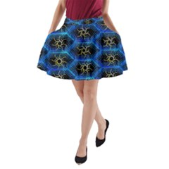 Blue Bee Hive Pattern A Line Pocket Skirt