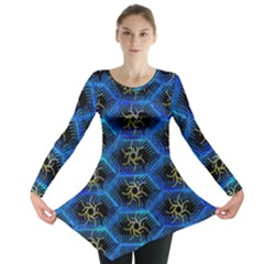 Blue Bee Hive Pattern Long Sleeve Tunic