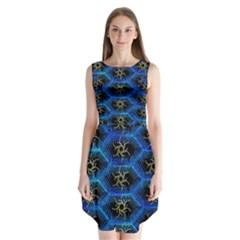 Blue Bee Hive Pattern Sleeveless Chiffon Dress