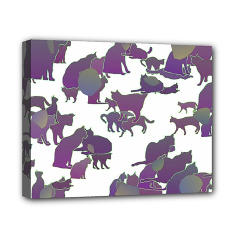 Many Cats Silhouettes Texture Canvas 10  X 8