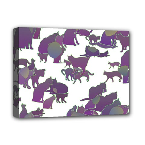 Many Cats Silhouettes Texture Deluxe Canvas 16  X 12