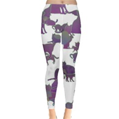 Many Cats Silhouettes Texture Leggings