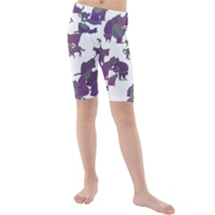 Many Cats Silhouettes Texture Kids  Mid Length Swim Shorts