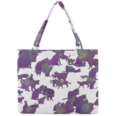 Many Cats Silhouettes Texture Mini Tote Bag