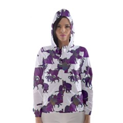 Many Cats Silhouettes Texture Hooded Wind Breaker (women)