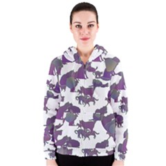 Many Cats Silhouettes Texture Women s Zipper Hoodie