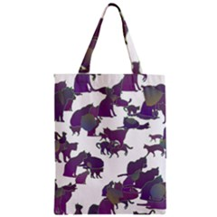 Many Cats Silhouettes Texture Zipper Classic Tote Bag