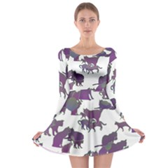 Many Cats Silhouettes Texture Long Sleeve Skater Dress