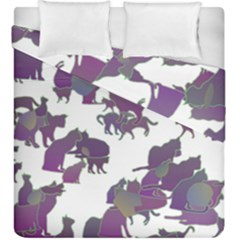 Many Cats Silhouettes Texture Duvet Cover Double Side (king Size)