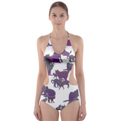 Many Cats Silhouettes Texture Cut Out One Piece Swimsuit