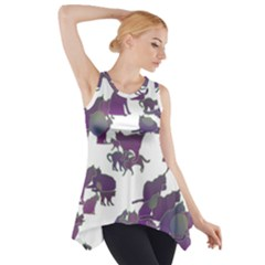 Many Cats Silhouettes Texture Side Drop Tank Tunic