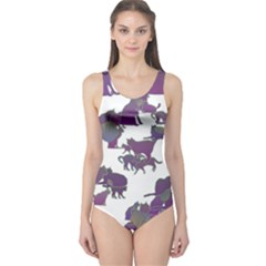 Many Cats Silhouettes Texture One Piece Swimsuit
