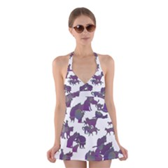 Many Cats Silhouettes Texture Halter Swimsuit Dress