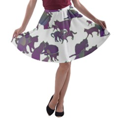 Many Cats Silhouettes Texture A-line Skater Skirt