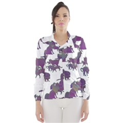 Many Cats Silhouettes Texture Wind Breaker (women)
