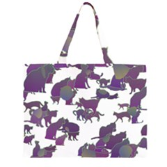 Many Cats Silhouettes Texture Large Tote Bag