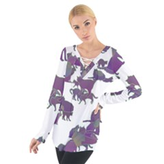 Many Cats Silhouettes Texture Women s Tie Up Tee