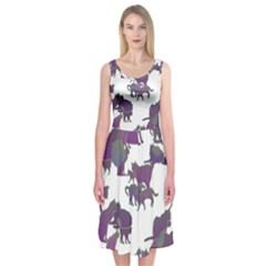 Many Cats Silhouettes Texture Midi Sleeveless Dress