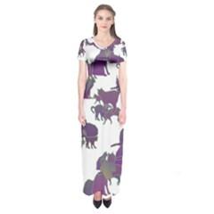 Many Cats Silhouettes Texture Short Sleeve Maxi Dress