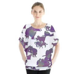 Many Cats Silhouettes Texture Blouse