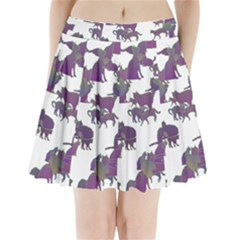 Many Cats Silhouettes Texture Pleated Mini Skirt