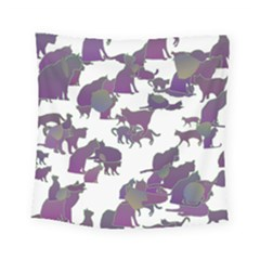 Many Cats Silhouettes Texture Square Tapestry (small)