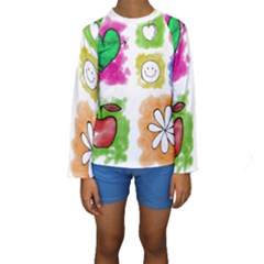 A Set Of Watercolour Icons Kids  Long Sleeve Swimwear