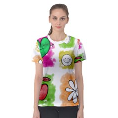 A Set Of Watercolour Icons Women s Sport Mesh Tee