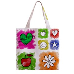 A Set Of Watercolour Icons Grocery Tote Bag