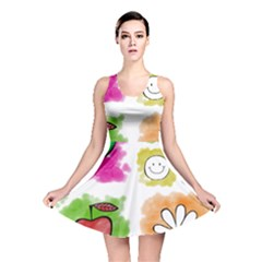 A Set Of Watercolour Icons Reversible Skater Dress