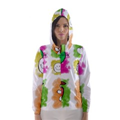 A Set Of Watercolour Icons Hooded Wind Breaker (women)