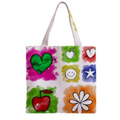 A Set Of Watercolour Icons Zipper Grocery Tote Bag