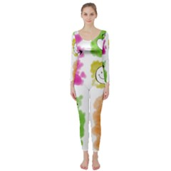 A Set Of Watercolour Icons Long Sleeve Catsuit