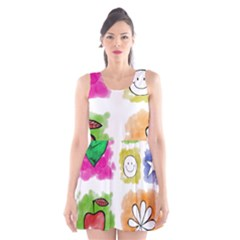 A Set Of Watercolour Icons Scoop Neck Skater Dress