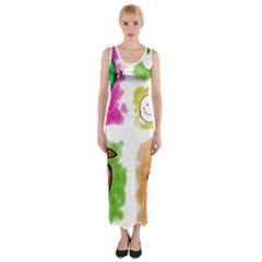 A Set Of Watercolour Icons Fitted Maxi Dress