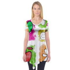 A Set Of Watercolour Icons Short Sleeve Tunic