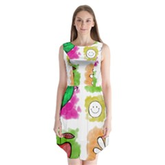 A Set Of Watercolour Icons Sleeveless Chiffon Dress