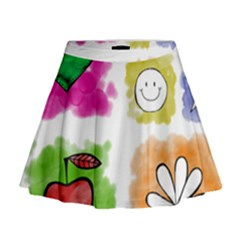 A Set Of Watercolour Icons Mini Flare Skirt
