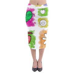 A Set Of Watercolour Icons Midi Pencil Skirt