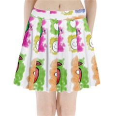 A Set Of Watercolour Icons Pleated Mini Skirt