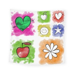 A Set Of Watercolour Icons Square Tapestry (small)